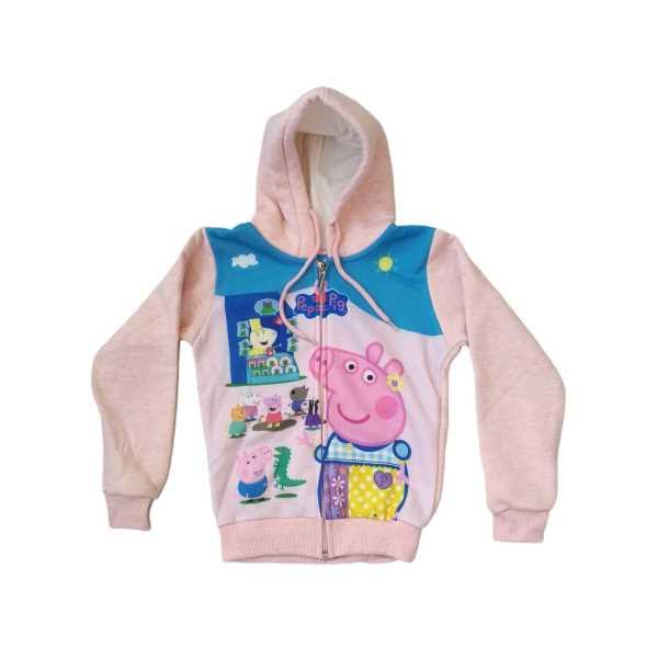 Kız Çocuk Peppa Pig Digital Baskılı Kapüşonu Astarlı Fermuarlı Üç İplik Sweat Ceket ÇCFK-PEP
