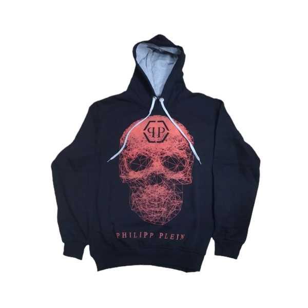 Erkek Kapüşonlu Bağcıklı Kabartma Kuru Kafa Baskılı Sweatshirt ESK-PH