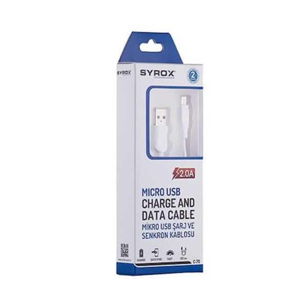 Syrox C70 2.0A Hızlı Mikro USB Data ve Şarj Kablosu