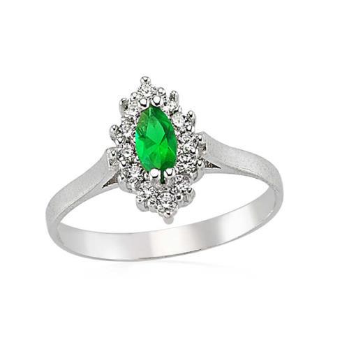 Gümüş Yeşil Taşlı Bayan Yüzük