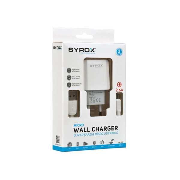 Syrox J47 Micro USB Girişli 2.6 Amper Şarj Aleti