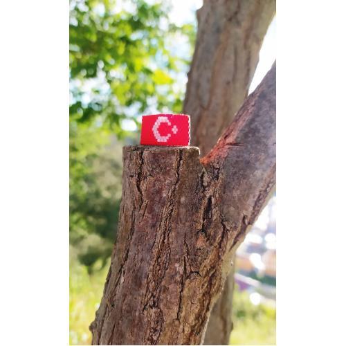 Miyuki Türk Bayrağı yüzük modelimiz. Model No: 00Y3