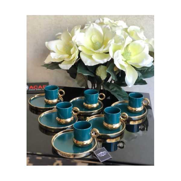 6 kişilik porselen sunum tabaklı Türk Kahvesi Fincanı seti