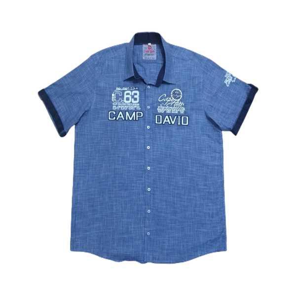 Erkek Battal Beden Kısa Kollu Nakışlı Yazılı Logolu Gömlek EGK-CDB