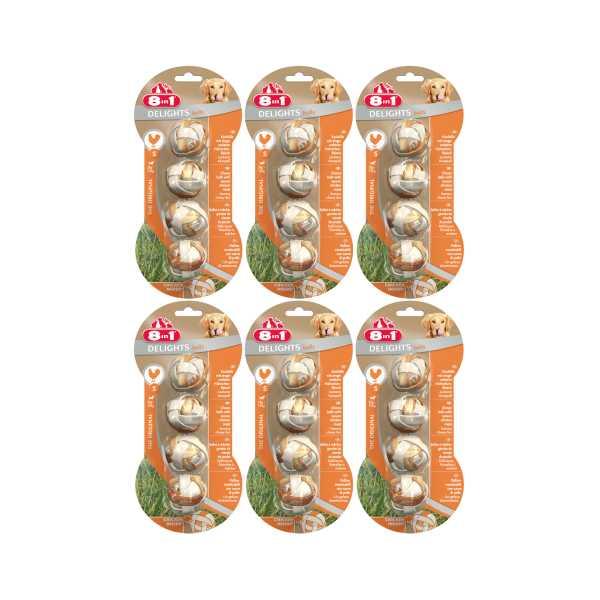 8in1 Delights Balls Köpekler İçin Tavuklu Ağız Bakım Kemiği 4'lü Paket x 6 Adet