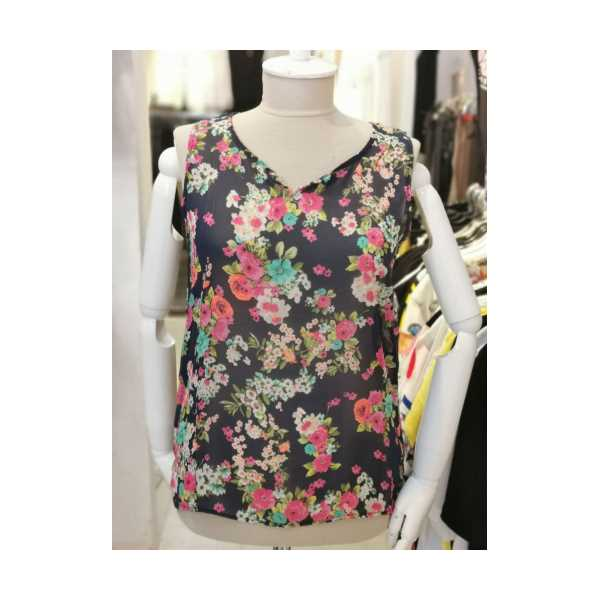 Kadın Lacivert Çiçek Desenli Kolsuz Şifon Bluz