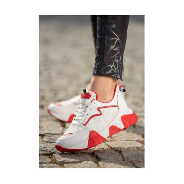 Zeren Beyaz Cilt Bağcıklı Spor Ayakkabı