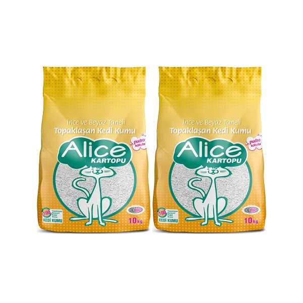 Alice Kartopu İnce ve Beyaz Taneli Pudra Kokulu Kedi Kumu 2x10 kg (23 Lt)