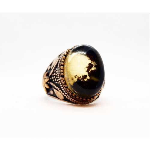 Has kehribar taşlı el işi gümüş yüzük 925 ayar gerçek gümüş