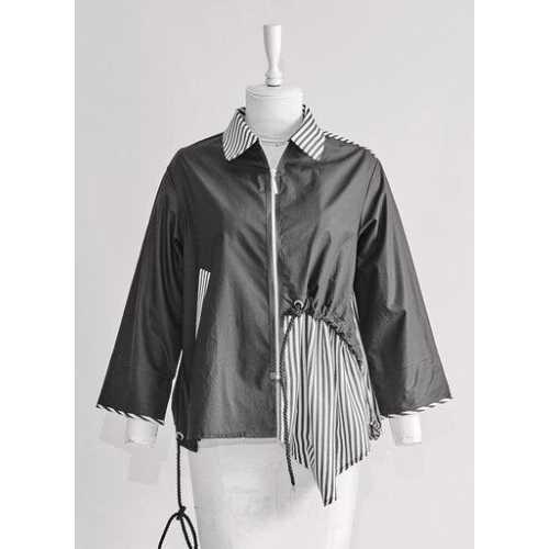 Siyah Beyaz Çizgili Tasarım Koton Gömlek