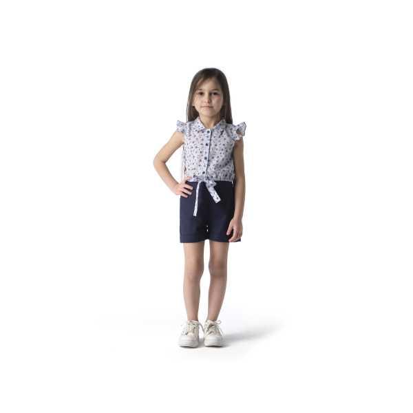Tülü Akkoç Bağcıklı Mavi Gömlek Lacivert Şort Takım TAK21TK205C