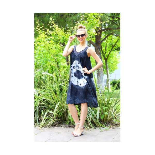 Patiska Kadın Yuvarlak Desenli Dantel Detaylı Batik Elbise 4129