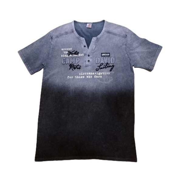 Erkek Büyük Beden Düğmeli V Yakalı Kısa kollu Yıkamalı Taşlanmış Yazılı Tişört ETV-CDY