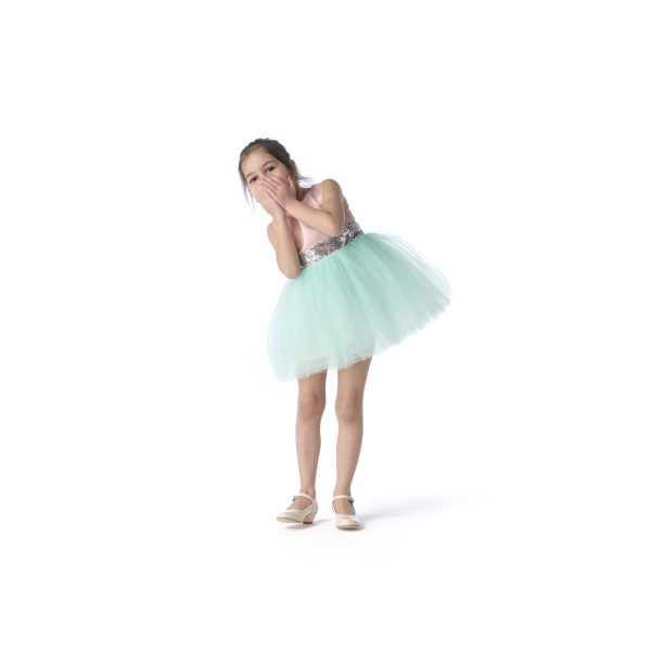 Tülü Akkoç Yeşil Abiye Tütülü Prenses Elbise TAK21A301B