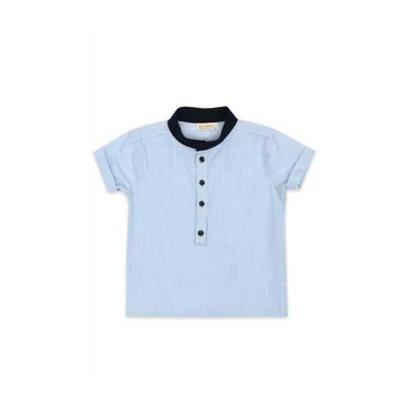 Tülü Akkoç Mavi Yarım Patlı Erkek Çocuk Gömlek