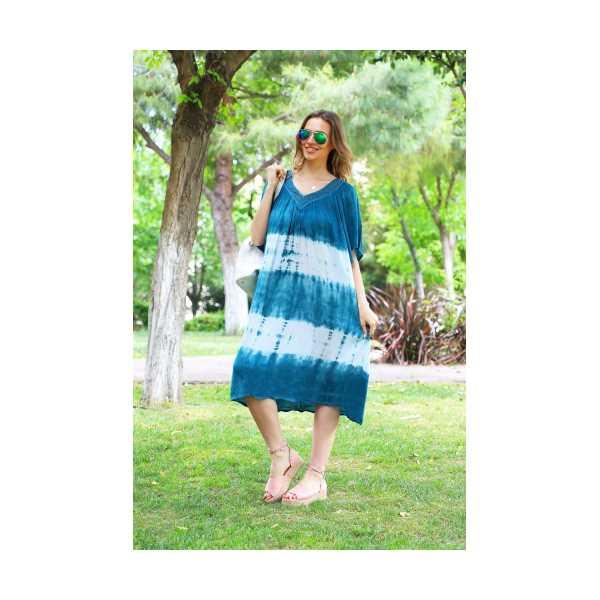 Patiska Kadın Yarım Kollu Danteli Enine Desenli Batik Elbise 4127