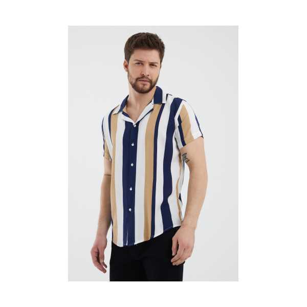 Beyaz-Lacivert Erkek Yaka Kısa Kollu Slim Fit Gömlek