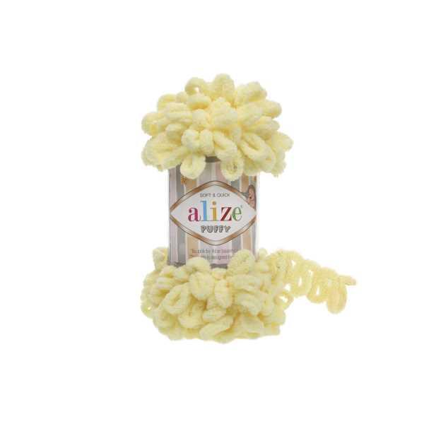Alize Puffy El Örgü İpi No: 13 Renk: Açık Sarı (5'li paket)