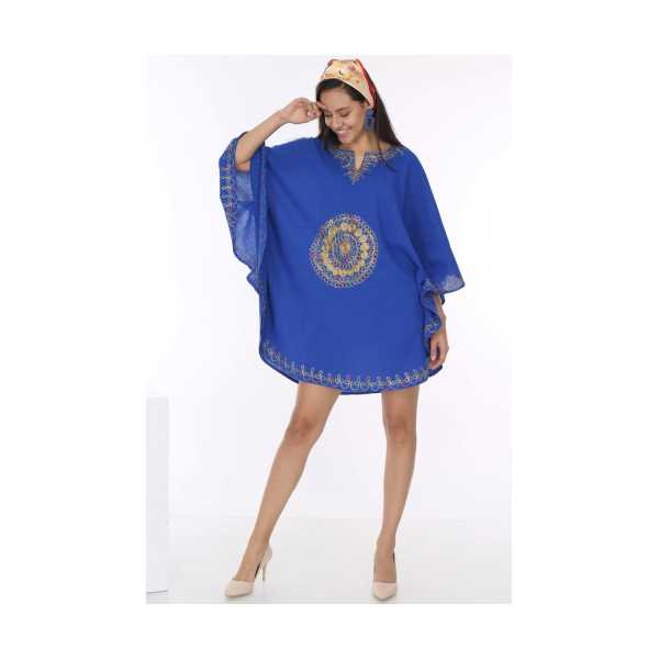 Patiska Kadın Mavi Yarasa Kol Etek Ucu Ve Önü Nakış Detaylı Elbise 4083