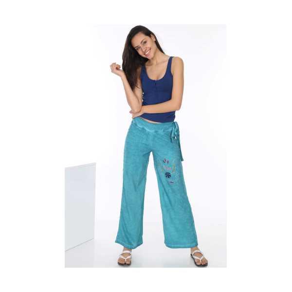 Patiska Kadın Mavi Yandan Bağlamalı Nakış Detaylı Salaş Pantolon 4089