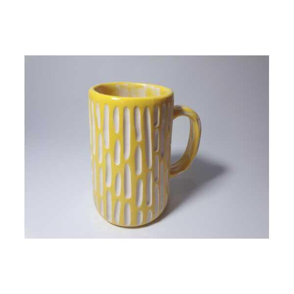 El Yapımı Seramik Bira Bardağı Sarı