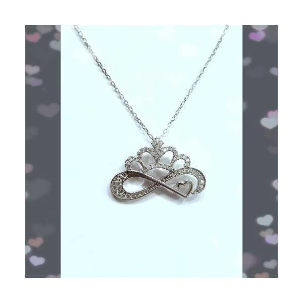 Gümüş kolye sonsuzluk tac taç kalp GumusAkce ipeksilver
