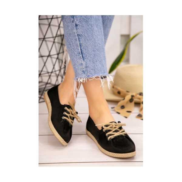 Arge Siyah Süet Bağcıklı Babet Ayakkabı
