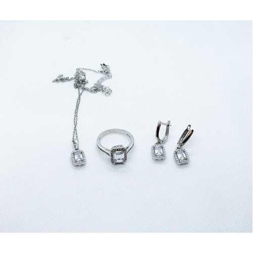 Baget taşlı pırtlanta tasarımlı özel tasarım gümüş set takım 925 ayar bayan set