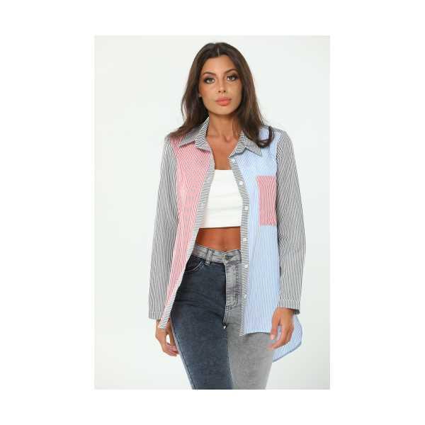 Antrasit Çizgili Renkli Kadın Gömlek 449685