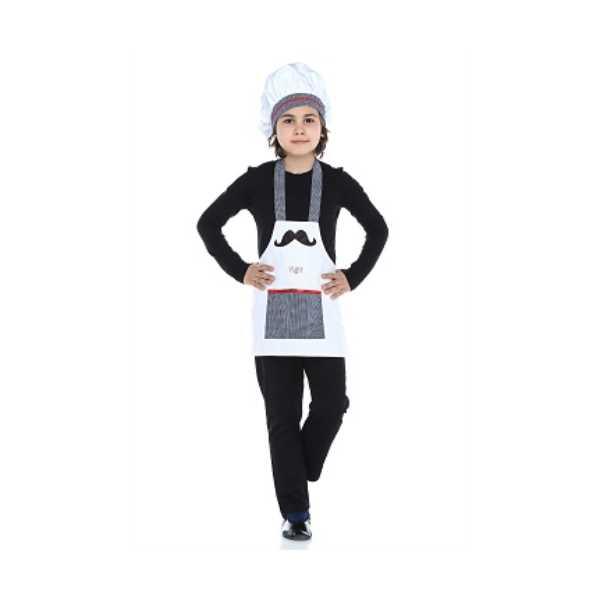 Tülü Akkoç Çocuk Aşçı Önlük-Şapka