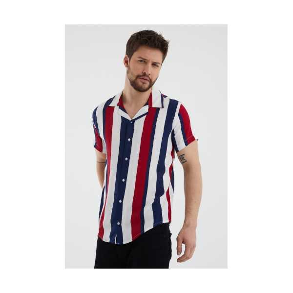 Beyaz-Bordo Erkek Yaka Kısa Kollu Slim Fit Gömlek