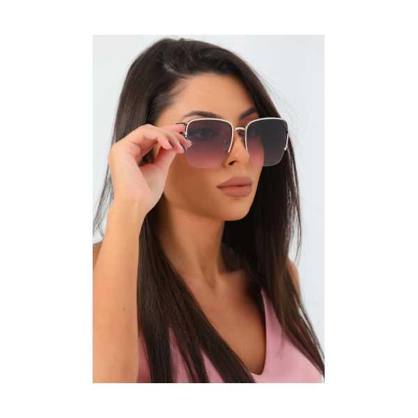 Siyah Pembe Dikdörtgen Kadın Güneş Gözlüğü