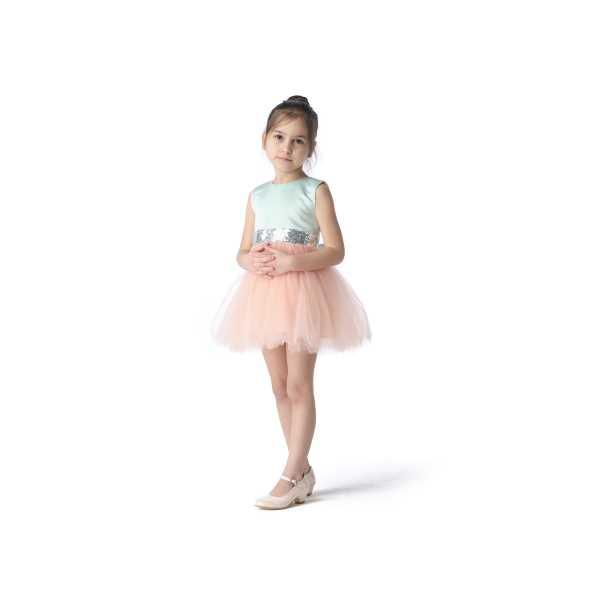 Tülü Akkoç Pudra Pembe Abiye Tütülü Prenses Elbise TAK21A301D