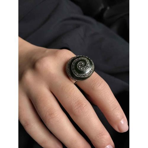 Spiral Mineli Taşlı  925 Ayar Gümüş Kadın Yüzük Modeli