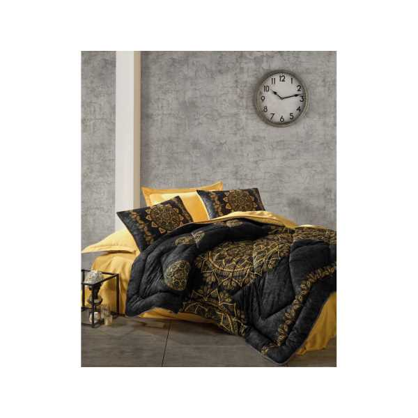 Cottonbox Saten Çift Kişilik Uyku Seti Alvina Gold
