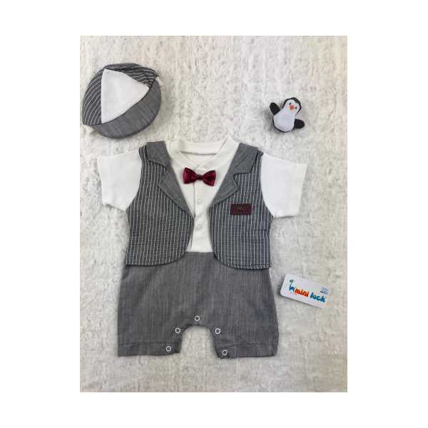 Takım Elbise Görünümlü Erkek Bebek Tulum