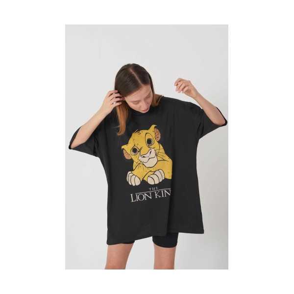 Kadın Siyah Aslan Baskılı Oversize Tshirt