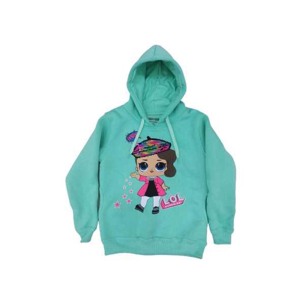 Kız Çocuk Kapüşonlu Cepli Renk Değiştiren Pullu Lol Karakterli Üç İplik Pamuklu Sweatshirt ÇSK-LOL
