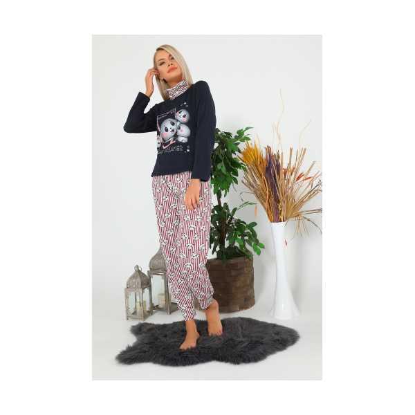 KoyuLacivert Panda Baskılı Kadın Pijama Takımı 435147