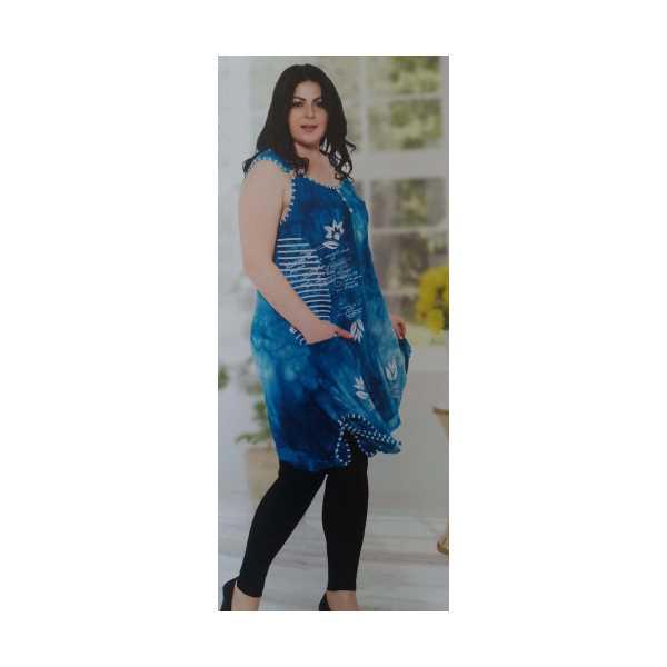 Kadın Turkuaz Batik Taşlı Baskılı Cepli Yırtmaçlı Bağcıklı Askılı Halkalı Büyük Beden Elbise 8675-Ö