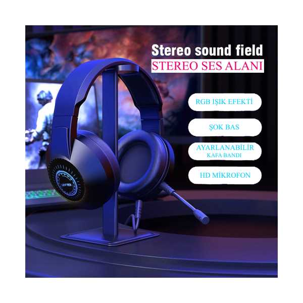 Layftech H03 RGB HD Mikrofonlu Oyuncu Kulaklık,Stereo Gaming Kulaklık 7.1 Surround  PC/PS4/XBOX/Tel