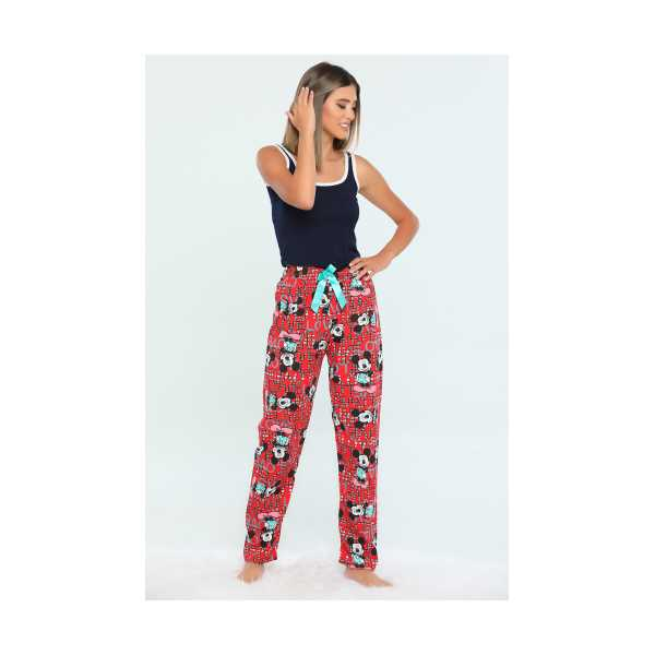 Kırmızı Bel Lastikli Baskılı Kadın Pijama Altı 455466