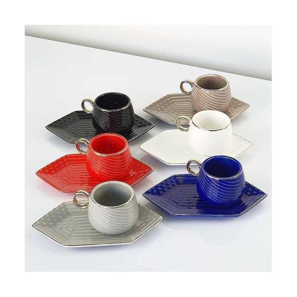 Acar geometrik renkli 6 kişilik türk kahvesi fincanı