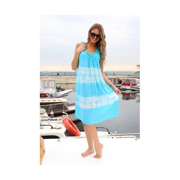 Patiska Kadın Enine Desenli Dantel Detaylı Batik Elbise 4122