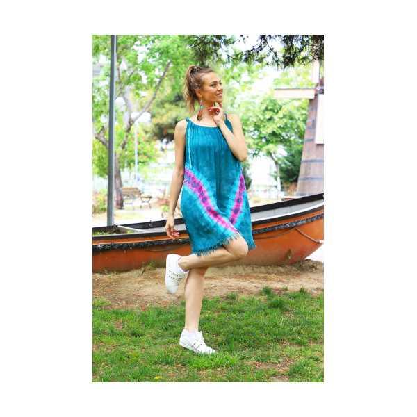Patiska Kadın V Desenli İp Askılı Batik Elbise 4130