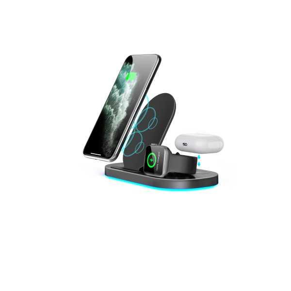 3 in 1 Samsung Apple Watch Iphone AirPods Kablosuz Hızlı Şarj istasyonu Dock