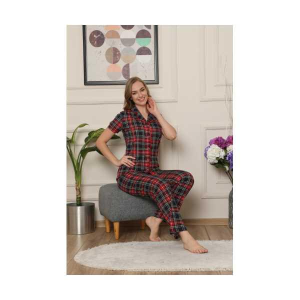 ALİMERKadın Ekose Gömlek Yaka Pijama Takımı