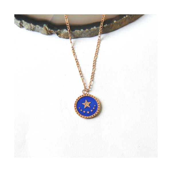 Mavi Mineli 50cm Yıldız Şans Kolyesi