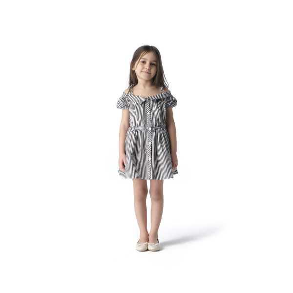 Tülü Akkoç Siyah Çizgili Karpuz Kollu Yazlık Elbise TAK21E121B