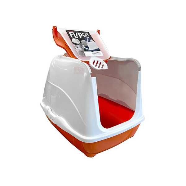 Moderna Flip Cat Kolay Açılır Filtreli Dekoratif Kapalı Kedi Tuvaleti Turuncu 50x39x37 cm